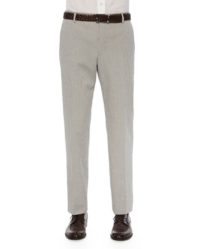 Seersucker/Check Flat-Front Trousers, Gray/Ivory