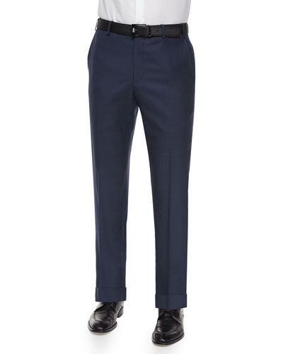 Parker Flat-Front Sharkskin Trousers, Blue