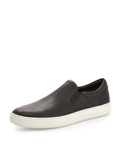 Perforated Leather Skater Sneaker, Black