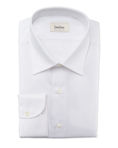 Textured Solid Dress Shirt, White