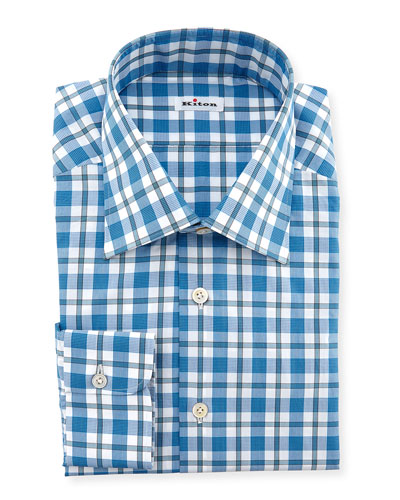 Plaid Dress Shirt, Teal/White