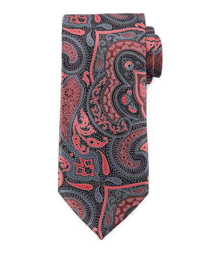 Paisley-Print Silk Woven Tie, Pink