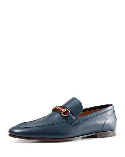Leather Loafer with Web Detail, Blue