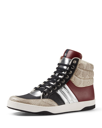 Snakeskin & Leather Padded High-Top Sneaker, Multi