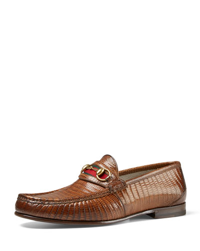 Lizard Horsebit Loafer, Light Brown