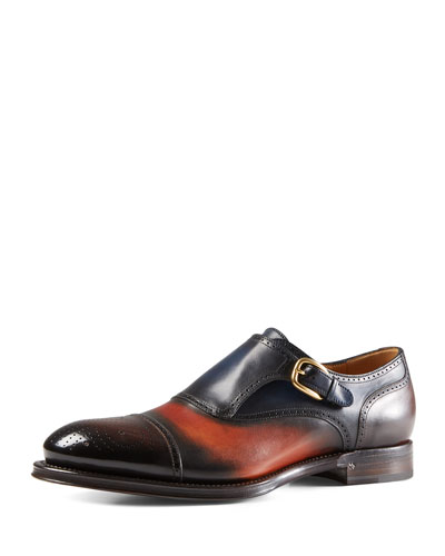 Shaded Leather Perforated Monk Shoe, Multi