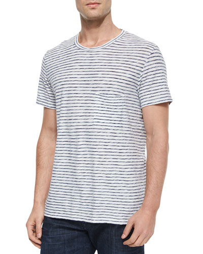 Striped Short-Sleeve Tee, Blue