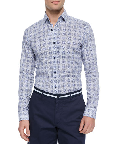 Printed Long-Sleeve Sport Shirt, Blue
