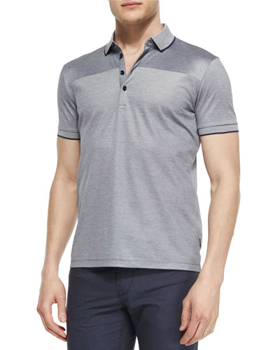Knit Oxford Polo Shirt, Navy/Gray