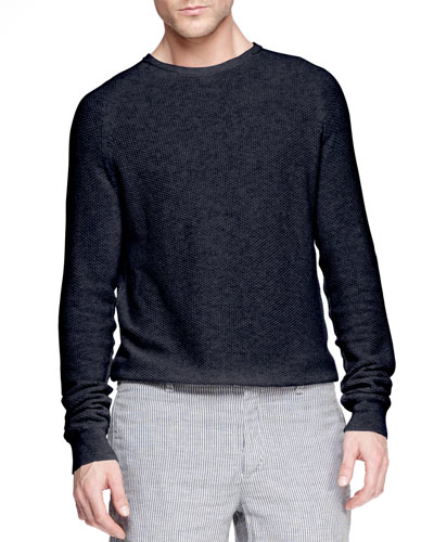Steven Textured Raglan Sweater, Navy