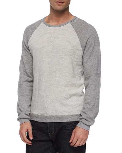 Raglan Long-Sleeve Shirt, Light Gray