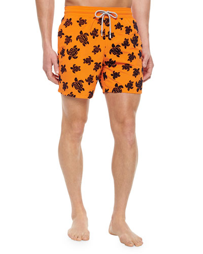 Moorea Turtle-Print Swim Trunks, Orange/Blue