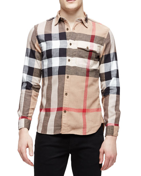 4aed3276 Burberry Brit Long-Sleeve Exploded Check Sport Shirt, Tan