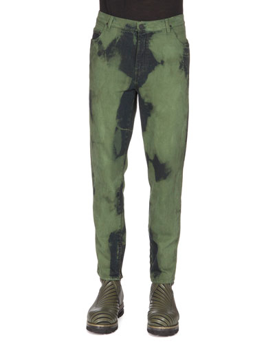 Over-Dyed Denim Jeans, Blue/Green