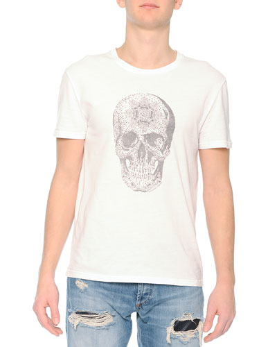 Jewel-Studded Skull Tee, White