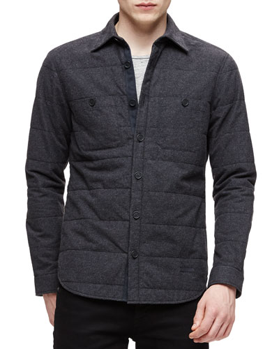 Quilted Flannel Long-Sleeve Shirt, Charcoal