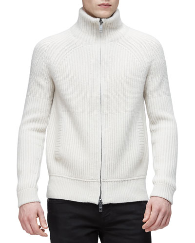 Ribbed Military-Style Wool Jacket, White
