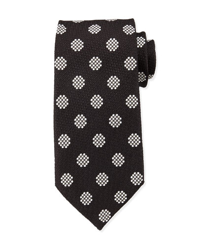 Textured Large-Dot Woven Tie, Black