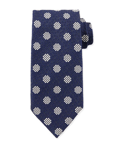 Textured Large-Dot Woven Tie, Blue