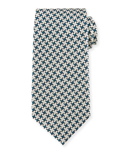Checkered Box-Print Tie, Teal
