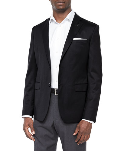 Solid Two-Button Wool Blazer, Black