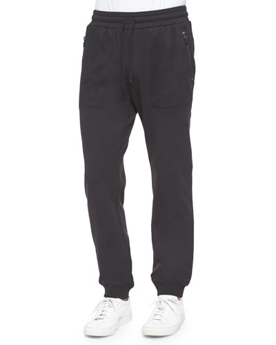 Woven Track Pants with Mesh Pockets, Black