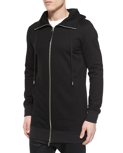 Terry Knit Full-Zip Hoodie, Black