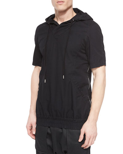 Side-Zip Short-Sleeve Hoodie, Black