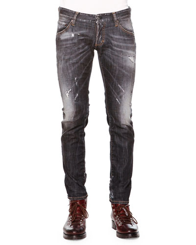 Clement Faded & Distressed Denim Jeans, Black