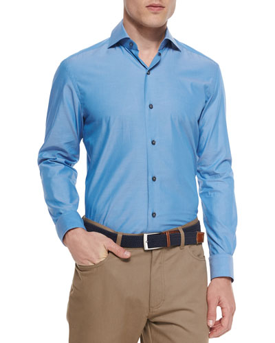Solid Chambray Sport Shirt, Teal