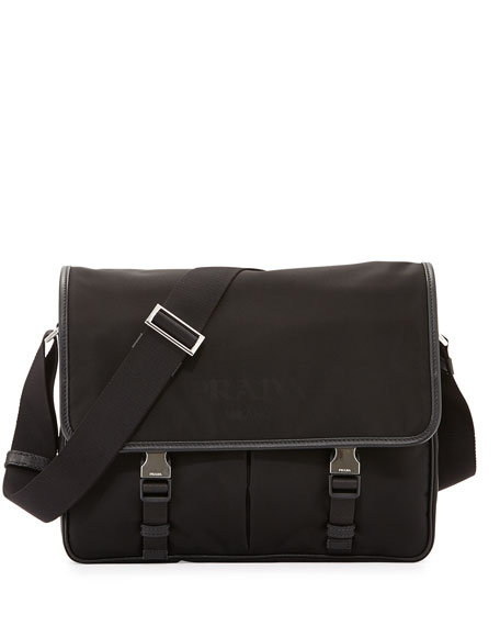 8ad277dda76 Prada Large Nylon Messenger Bag, Black