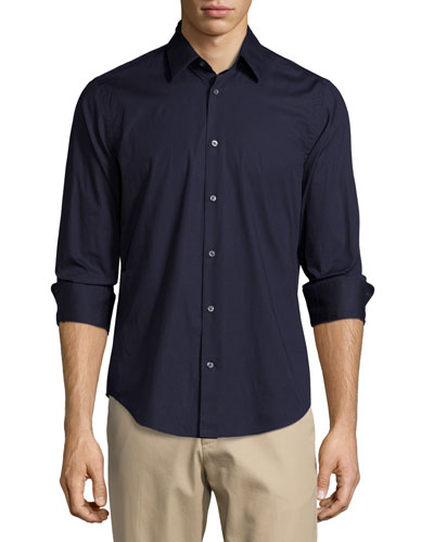 Basic Long-Sleeve Woven Shirt, Navy
