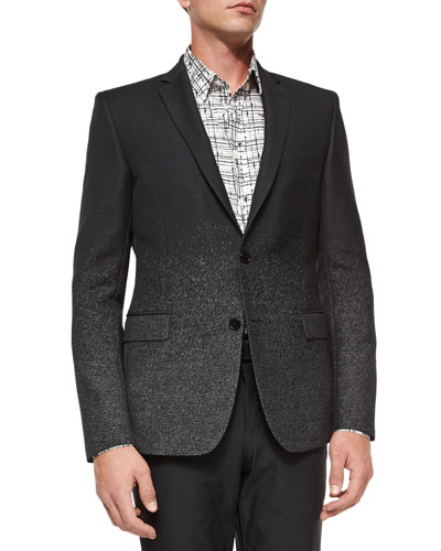 Dotted-Ombre Wool Evening Jacket, Black
