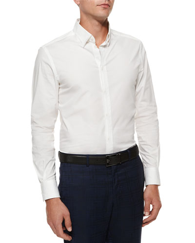 Concealed-Placket Woven Sport Shirt, White