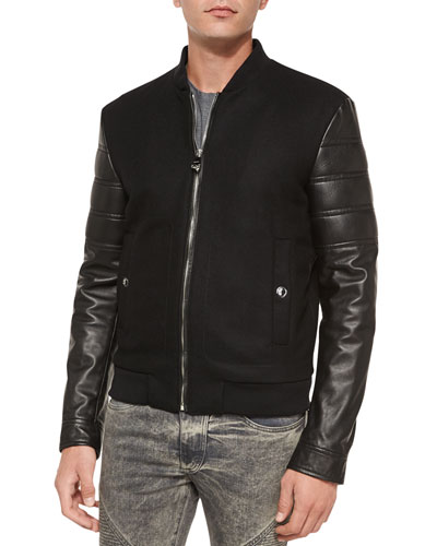Leather-Sleeve Varsity Jacket, Black