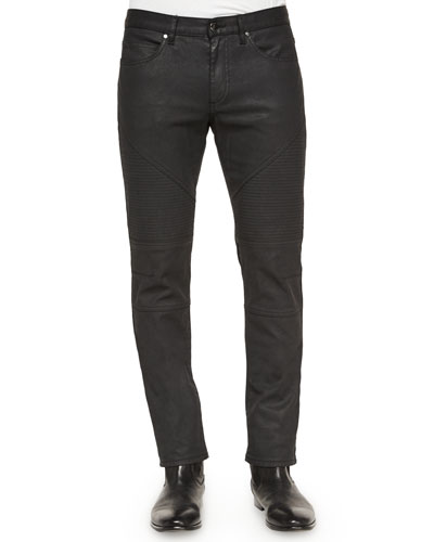 Five-Pocket Wax-Finish Moto Jeans, Black