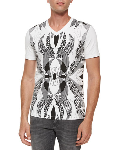 Graphic Print Short-Sleeve Tee, Black/White