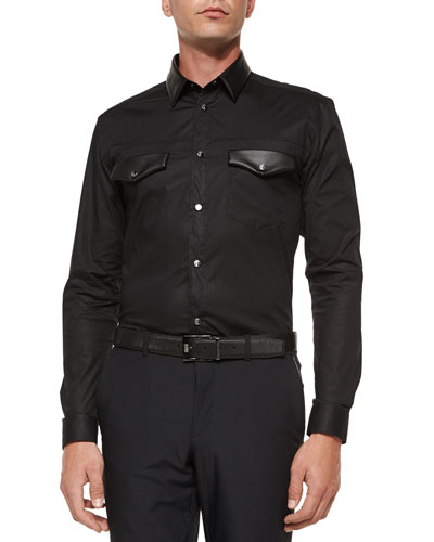 Stretch-Fit Poplin Shirt with Leather Detail, Black