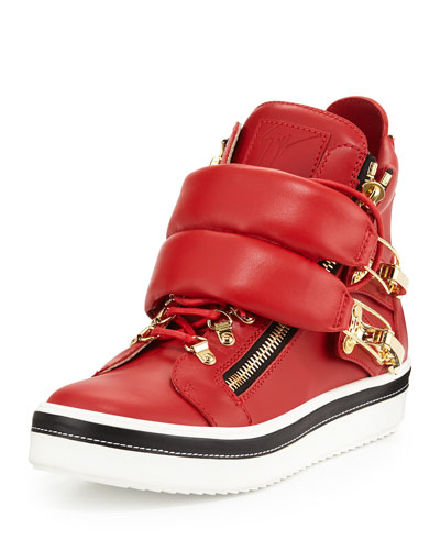 Calf Leather High-Top Sneaker, Red