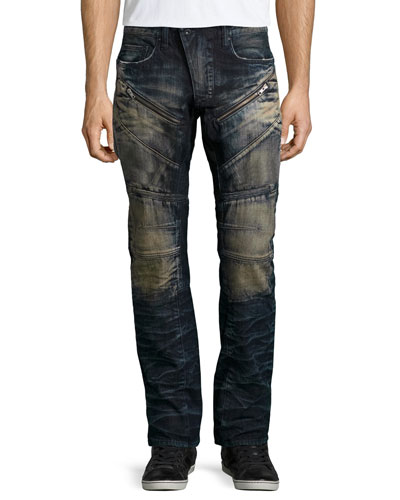 Barracuda Faded Moto-Style Jeans, Indigo