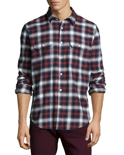 Plaid Long-Sleeve Shirt, Crimson