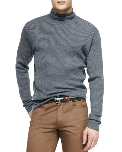 Merino Wool Turtleneck Sweater, Charcoal