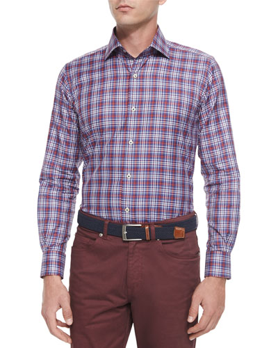 Melange Plaid Long-Sleeve Sport Shirt, Red