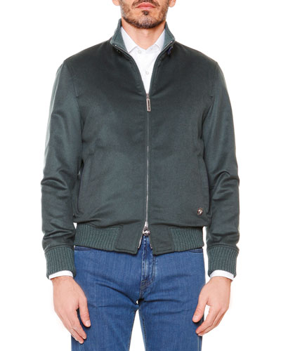 Cashmere Full-Zip Jacket, Green