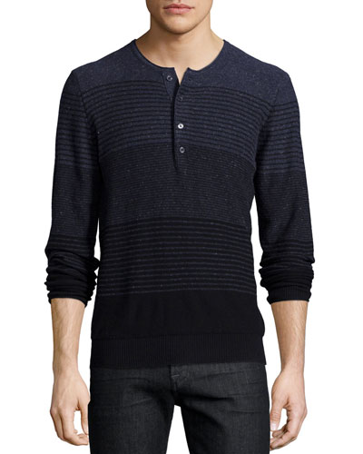 Gradient-Stripe Long-Sleeve Henley tee, Navy