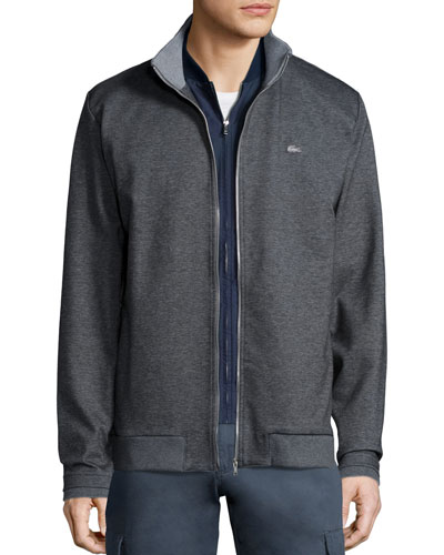 Melange Full-Zip Sweatshirt, Gray