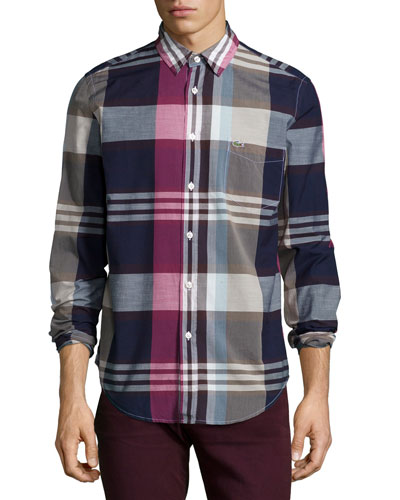 Multi-Plaid Long-Sleeve Shirt, Multicolor