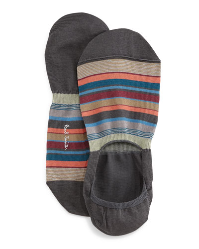 Bold Multi-Striped Loafer Socks, Gray
