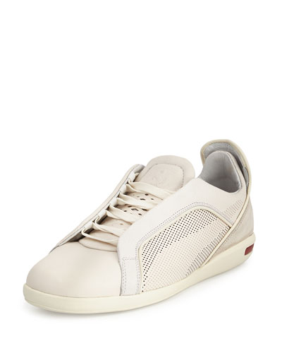 Ferrari Leather/Suede Low-Top Sneaker, White