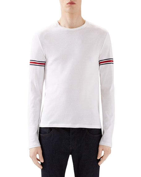 3a850f629 Gucci White Crew Long-Sleeve T-Shirt w/ Black/Red/Black Arm Band